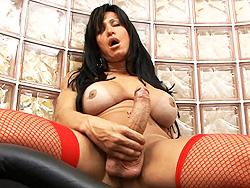 Leticia griffol masturbating. Horny Leticia stroking off her enormously large cock