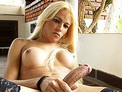 Dani de castro masturbating. Naughty blonde Dani plays with her heavy penish